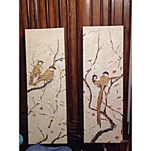 Bird print rectangular art work set